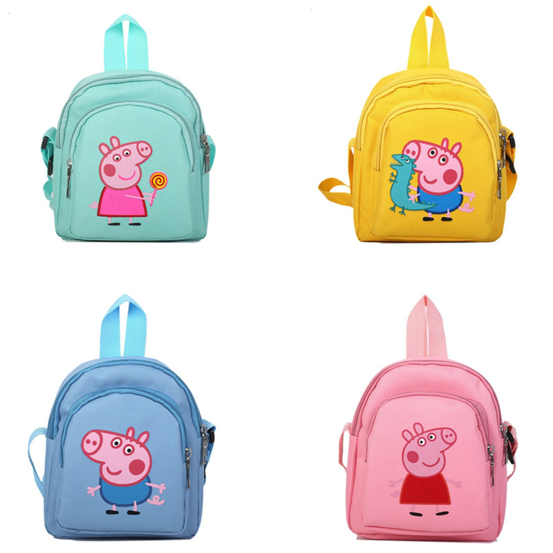 The New Peppa Pig Toy George Pig Action Figure Backpack High Quality Material Nylon Cloth Cartoon Bag School Bag Children's Gift
