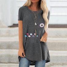 Camiseta con estampado de flores para Mujer, Camiseta larga de Manga Corta de talla grande, Camiseta holgada de gran tamaño, Camisetas de Manga Corta para Mujer