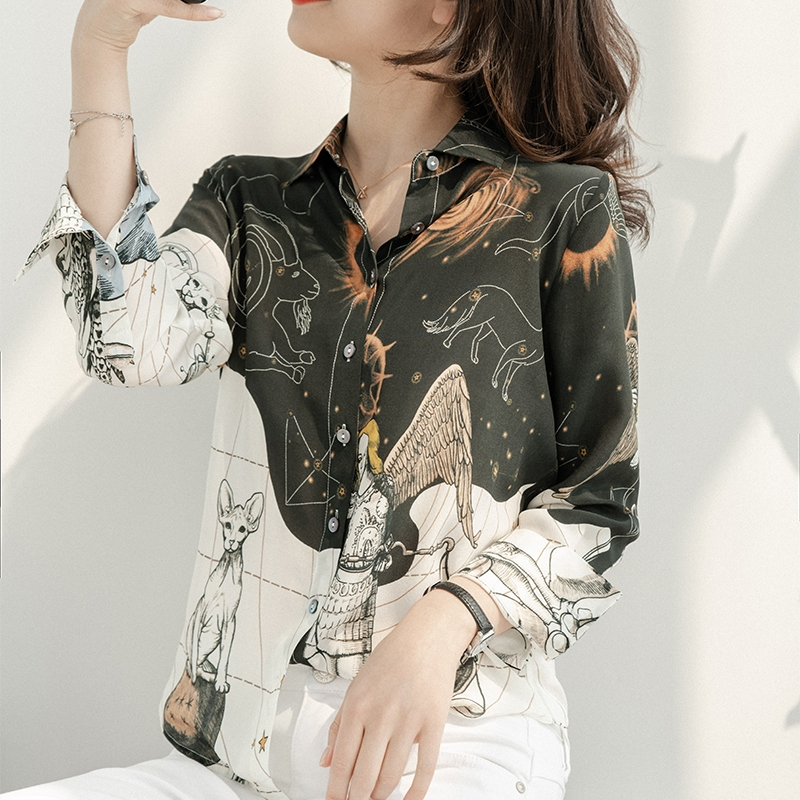Ladies Silk Blouses Turn-Down Collar Shirt Women Long-Sleeve Tops 2020 Summer Natural Silk  Clothing Black White