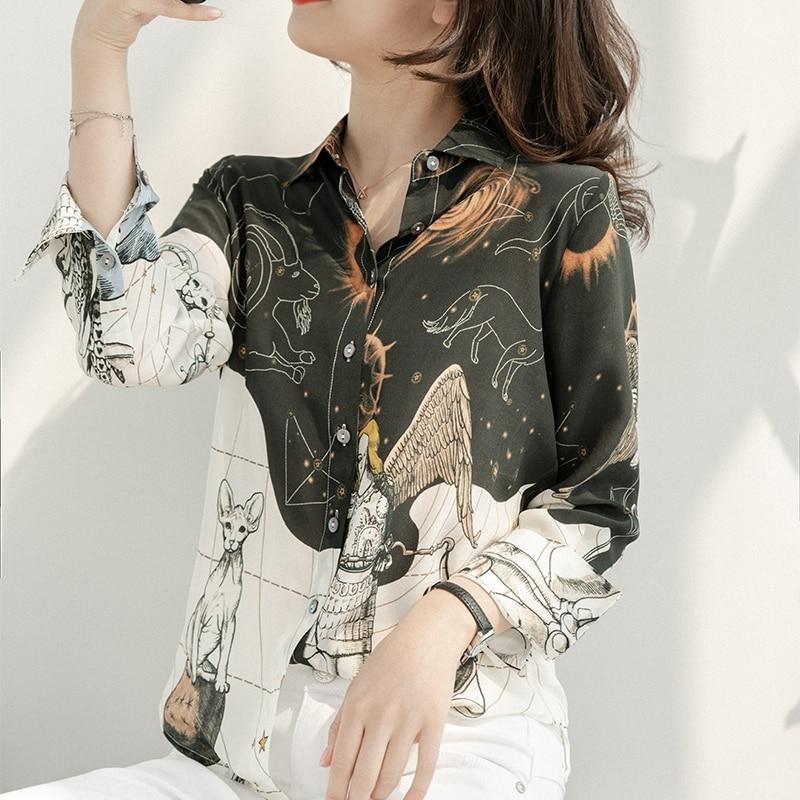 Ladies silk blouses Turn Down collar shirt Women Long Sleeve Tops 2020 Summer Natural Silk clothing black white Blouses & Shirts  - AliExpress