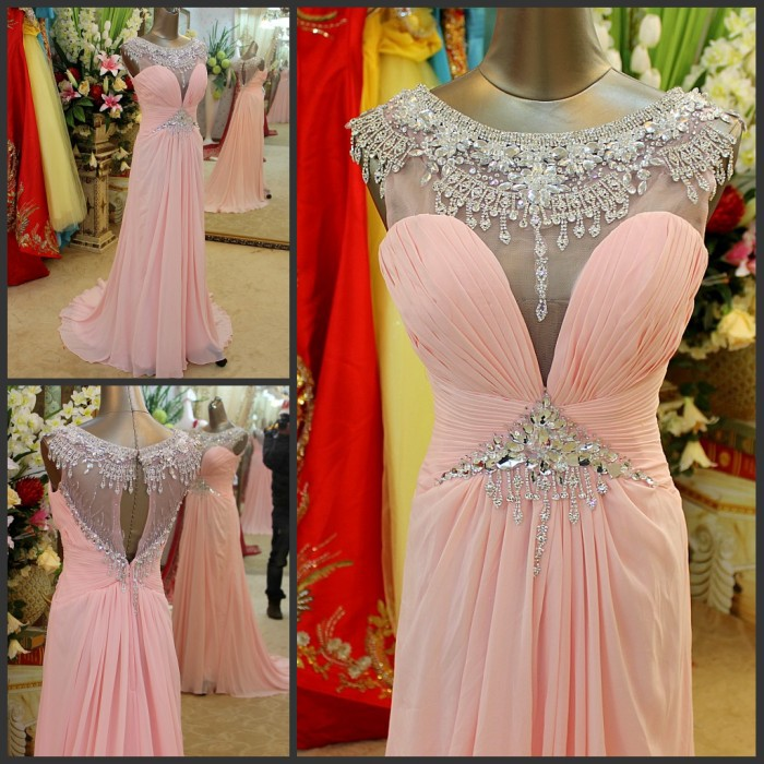 Free Shipping 2018 Crystal Formal Brides Beaded Pink Long Sexy Chiffon Yellow Party Prom Gowns Graduation Bridesmaid Dresses