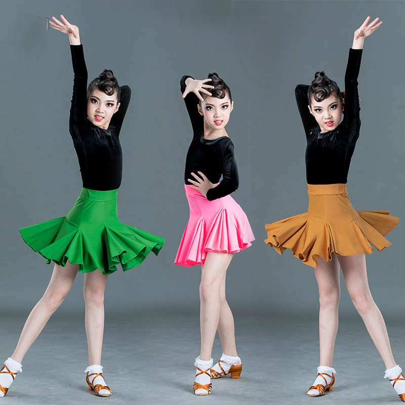 New Latin Dance Dress Long Sleeve Black Velvet Tops Skirts Girls Latin Dance Dresses Samba Salsa Cha Cha Performance Wear SL2365