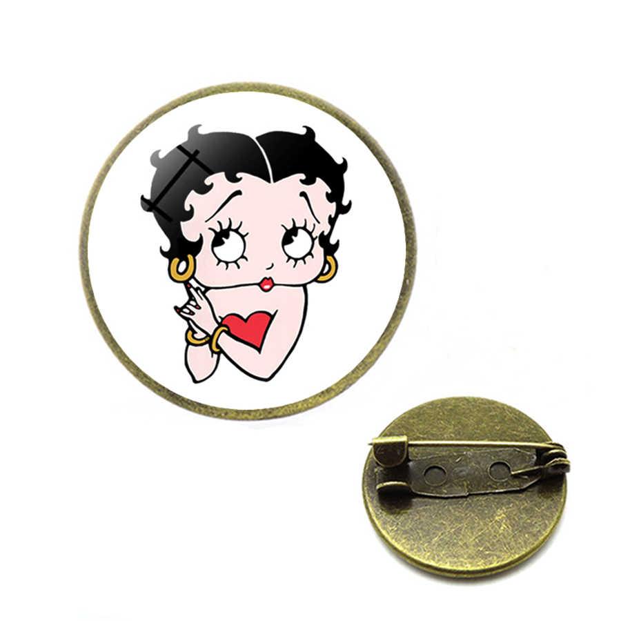 Sexy Bettyboop broszki Pin betty boop przypinka animowane postaci z kreskówek szpilki w górę odznaki broszki dla kobiety biżuteria bożonarodzeniowa