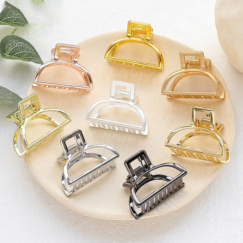 1pcs Fashion Women Girls Geometric Hair Claw Clamps Hair Crab  Solid Color Hair Clip Claws Hair Accessories Large/Mini Size