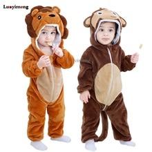 Rompers Costume Onesie Unicorn Kigurumi Monkey Cosplay Baby-Girl Pajama Flannel-Jumpsuit