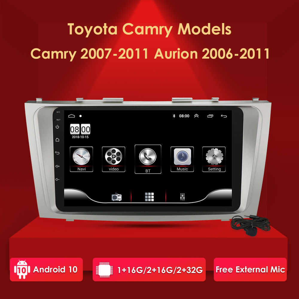 2din 9Inch 2.5D Android 10 Mobil DVD Radio Multimedia Player untuk Toyota Camry 2007 2008 2009 2010 2011 Navigasi gps