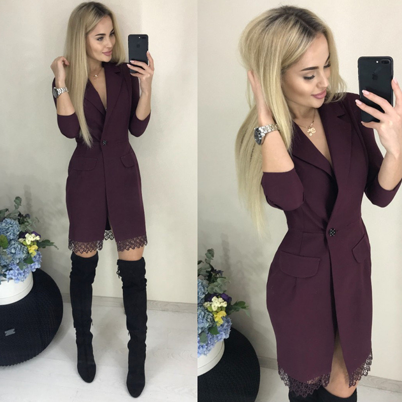 Women Lace Patchwork Sheath Sexy Dress Ladies Seven Sleeve V Neck Elegant Party Dress 2019 New Fashion Women Knee Length Vintage