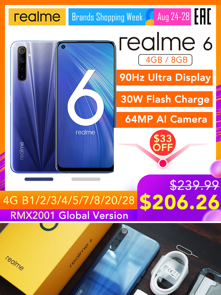 Realme Helio G90T 6-Global-Version Mobile-Phone 128GB 4gbb GSM/LTE/WCDMA NFC Vooc 5g wi-Fi/bluetooth 5.0