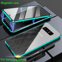 Custodia in metallo magnetico a doppia faccia per Samsung Galaxy S20 S10 S9 S8 Plus nota 20 UItra 10 Pro 8 9 A51 A71 A50 A70 A10 COVER in vetro