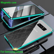 Double Sided Magnetic Metal Case For Samsung Galaxy S20 S10 S9 S8 Plus Note 20 UItra 10 Pro 8 9 A51 A71 A50 A70 A10 Glass COVER