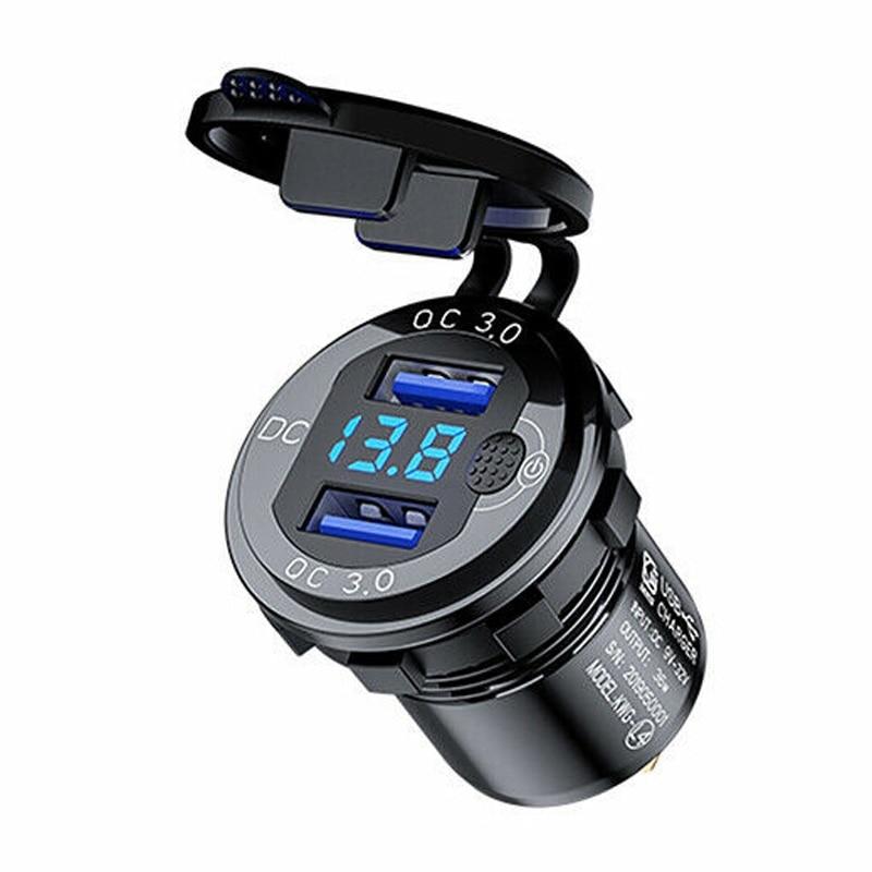 Водонепроницаемое Зарядное устройство USB 3A с двумя портами, быстрое зарядное устройство, дисплей розетки, вольтметр для автомобиля, лодки, м...