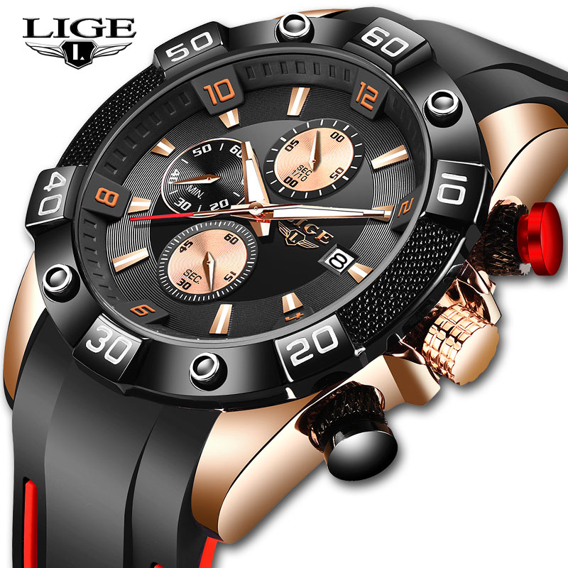 Relogio Masculino LIGE 2020 New Fashion Men Watches With Silicone Strap Top Brand Luxury Sport Chronograph Male Quartz Watch Men