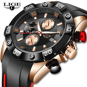 Relogio Masculino LIGE 2020 New Fashion Men Watches with Silicone Strap Top Brand Luxury Sport Chronograph Male Quartz Watch - discount item  90% OFF Men's Watches