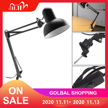 Flexible Swing Arm E27 Desk Lamp with Rotatable Lamp Head and Clamp Mount Support 360 Degree Rotation for Office/Home/Study