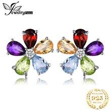 Genuine Citrine Garnet Peridot Topaz Stud Earrings 925 Sterling Silver Earrings For Women Korean Earings Fashion