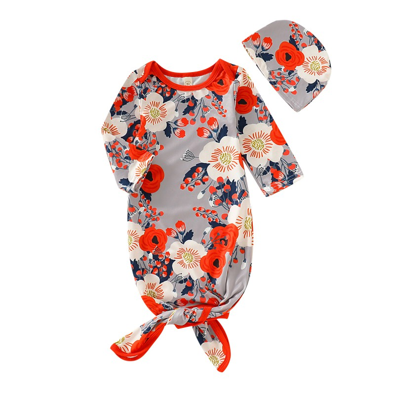 New Floral 0-2T Flower Autumn Baby Long Sleeve Rompers Cotton Floral Print Sleepwear Outfits+Headband Newborn Sleeping Bag Set F