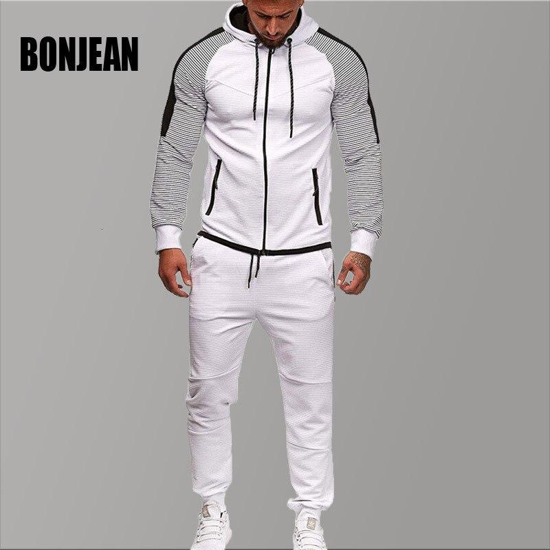 Marque survêtement pour hommes deux pièces blanc hommes survêtements Hoodies 2019 vêtements pour hommes Sport survêtement hommes ensemble vêtements pour hommes automne