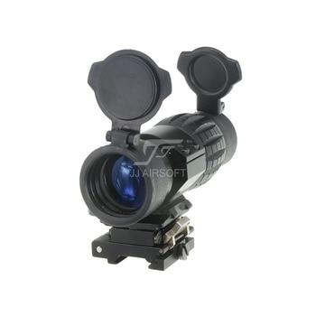 JJ Airsoft 4X FXD Magnifier with Adjustable QD Mount (Black/Tan)