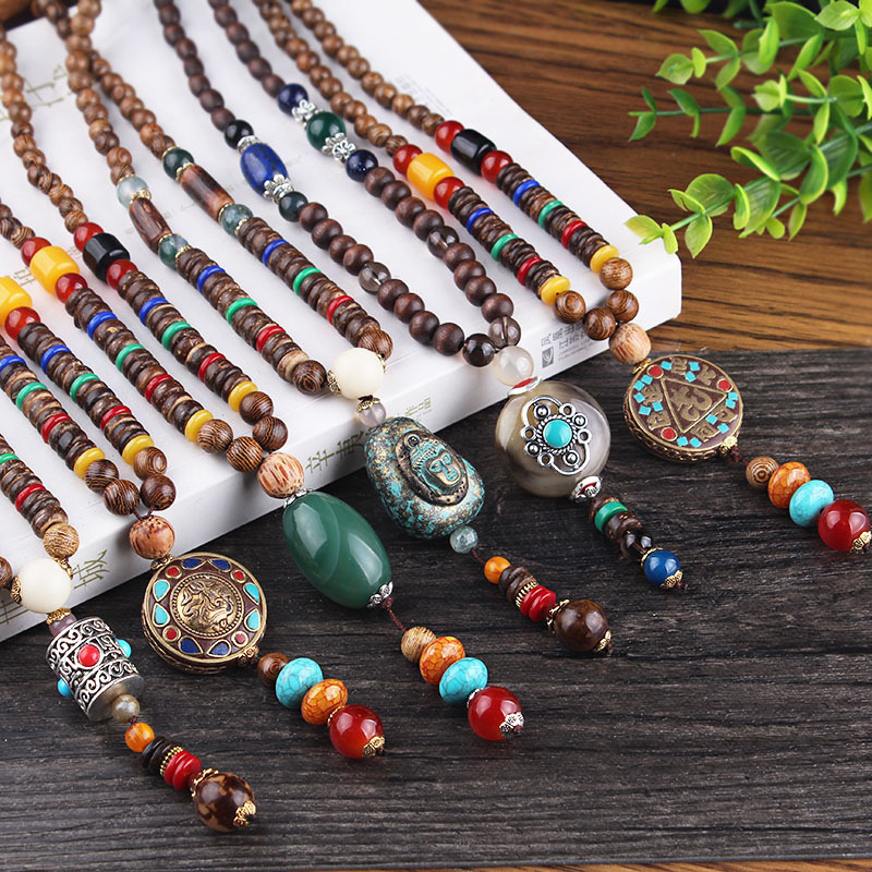 Vintage Beaded  Long Necklace Buddhist  Wood Beads Pendant & Necklace Ethnic  Women Men Sweater Chain Jewelry Pendant for 2018