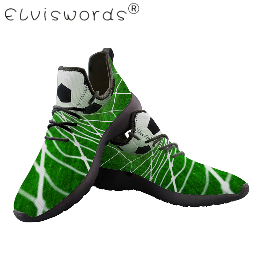 New ELVISWORDS Mens Soccer Printed shoes Non-slip Platform vulcanized shoes Large sizes Flying weave Black shoes For boy lady