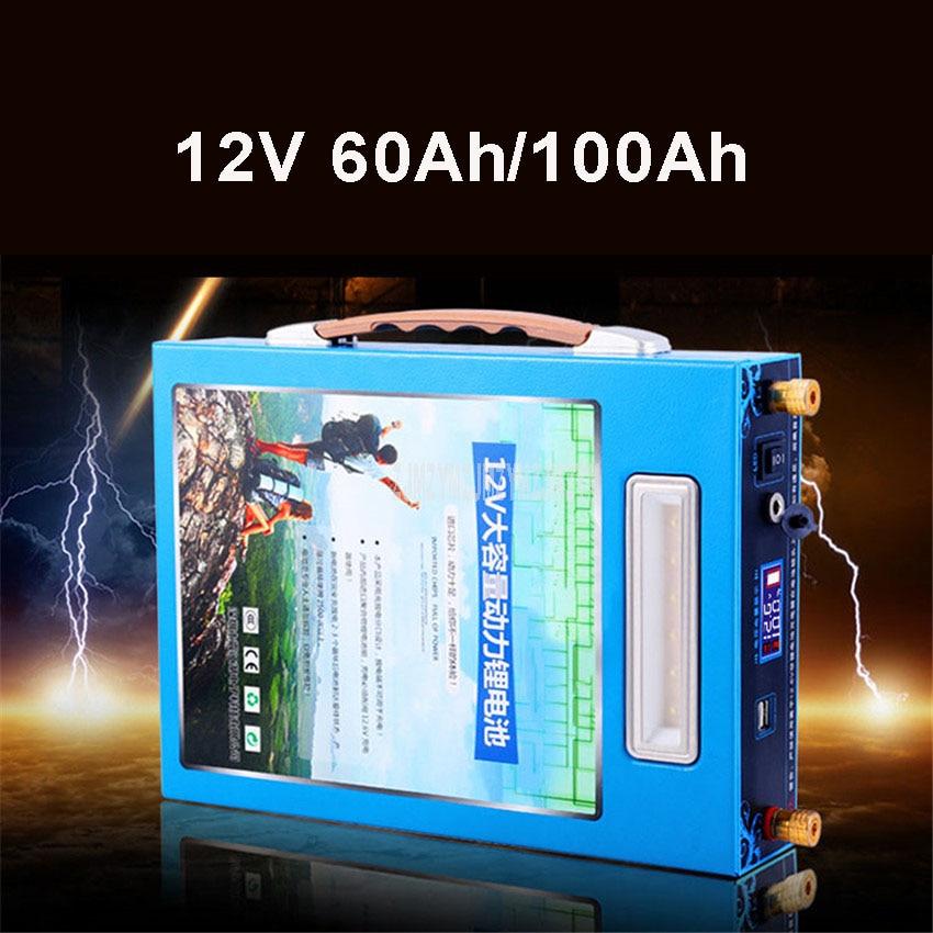 12V 60Ah/100Ah литий Батарея легкий большой Ёмкость Dual USB Порты и разъёмы с светодиодный свет для наружного Динамик портативный источник питания
