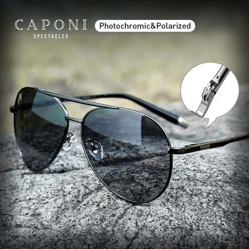 CAPONI Pilot Men's Sunglasses Polarized Day And Night Driving Eyewear Alloy Photochromic Adult Glasses For Male UV400 BS3136
