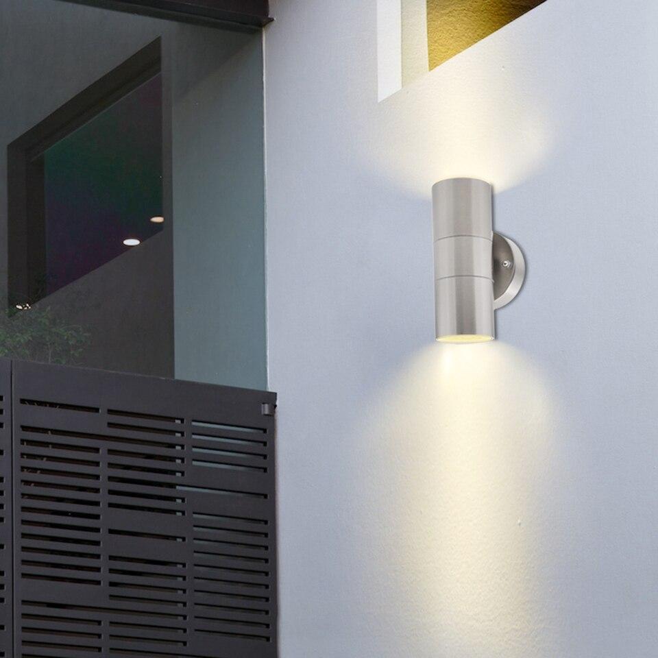Artpad Outdoor Ip54 Garden Up Down Wall Light Dusk Till Dawn Sensor Stainless Steel Double Wall Spot Light Gu10 Bulb Included Led Outdoor Wall Lamps Aliexpress