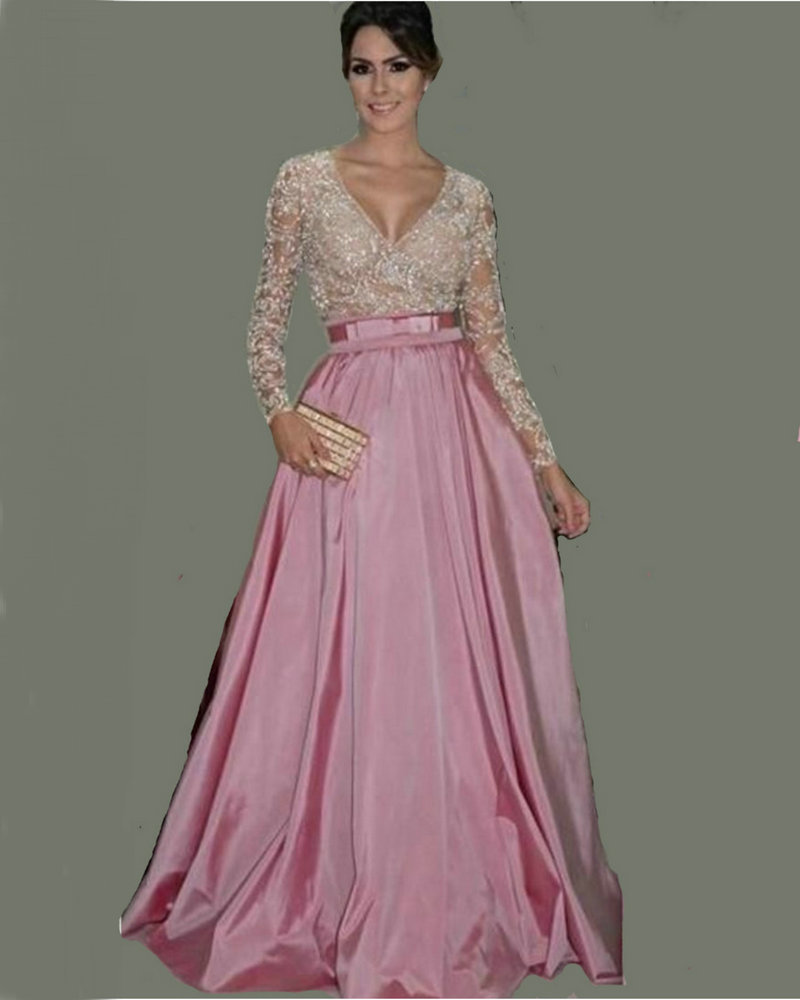 Pink And White Long Sleeve Prom Dress Sexy V Neck Lace Evening Gowns With Belt Taffeta A Line Women Formal Gowns