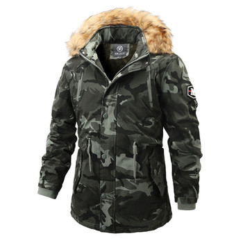 Winter Faux Fur Collar Long Thick Cotton Parkas Men Camouflage Coat Men's Military Style Hooded Pockets Outwear Windproof Coats