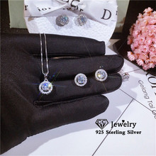 CC 925 Silver Jewelry Sets For Women Necklaces Pendants Stud Earrings Cubic Zirconia Bridal Wedding Engagement Accessory CCAS229
