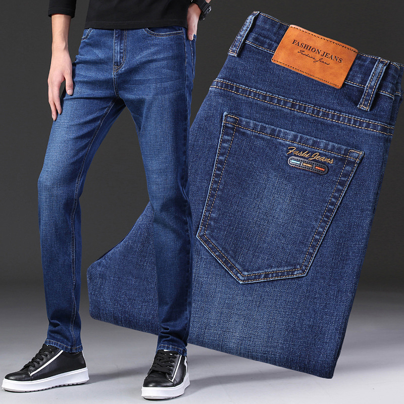 Fashion Vintage Men Jeans Blue Color Slim Fit Casual Business Jeans Men Classical Denim Pants Big Size 28-42 Elastic Jeans Homme