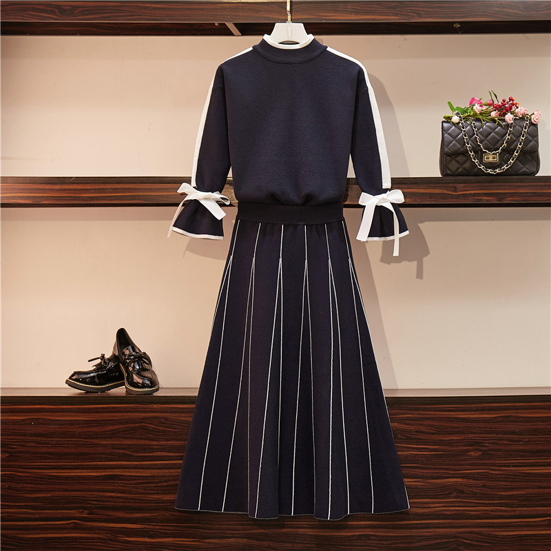 A Slim, Large Size Women's dress Autumn winter long sleeve bow tie striped dress knitted sweater Suit skirt two-piece suit dress