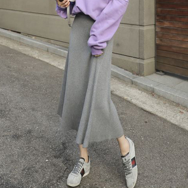 South Korea Long Knitted Skirt 2019 Summer New Products WOMEN'S Dress Half-length Big Skirt Slimming Skirt A Generation Of Fat