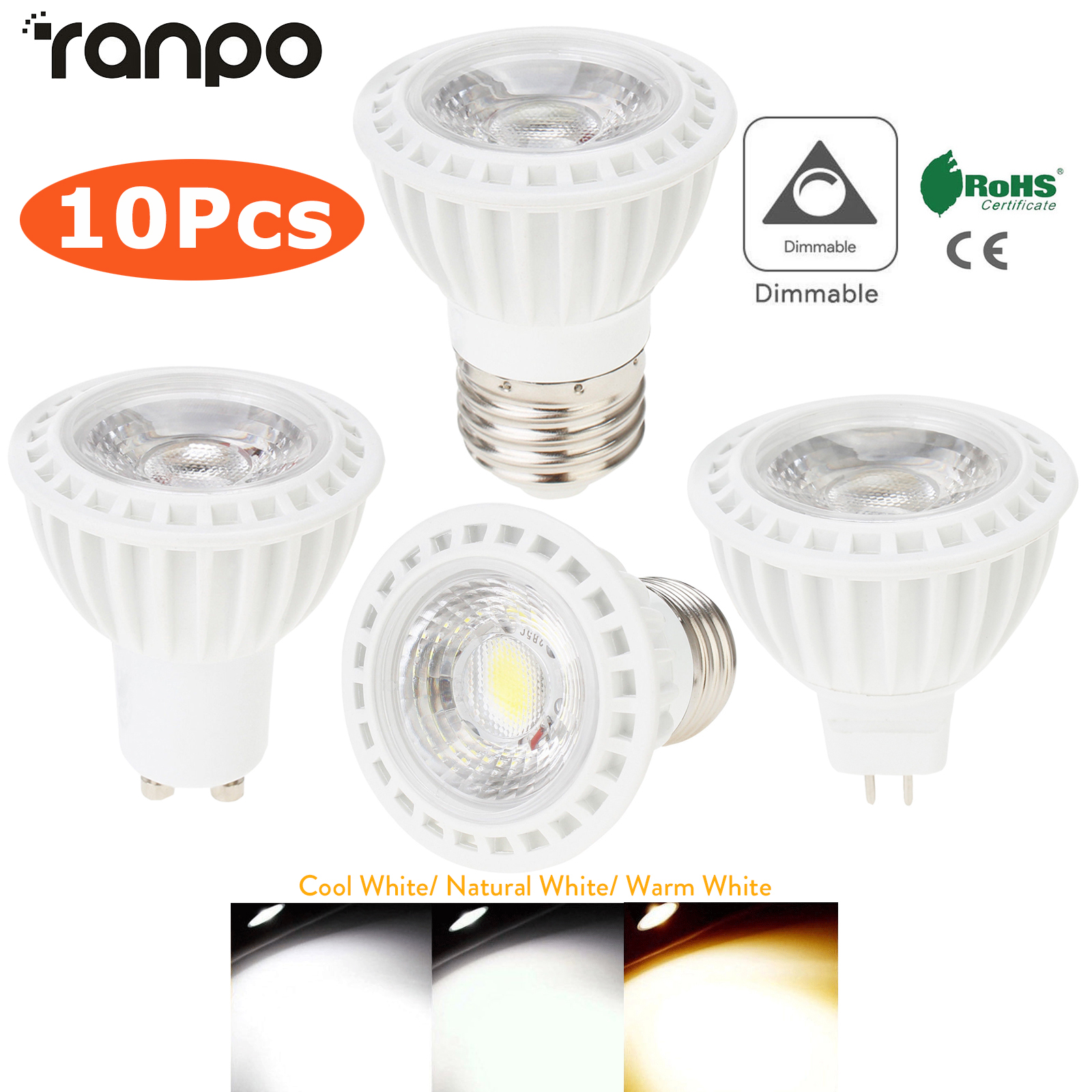 10pcs Dimmable <font><b>LED</b></font> Spotlights E26 <font><b>E27</b></font> GU10 MR16 15W COB Light <font><b>Bulbs</b></font> 45° Beam Angle 110V 220V DC <font><b>12V</b></font> for Home Office Table Lamp image