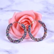 Korean Round Crystal Big Drop Earrings for Women Female Fashion Vintage Gold Rhinestones Women Dangle Earring 2019 Jewelry