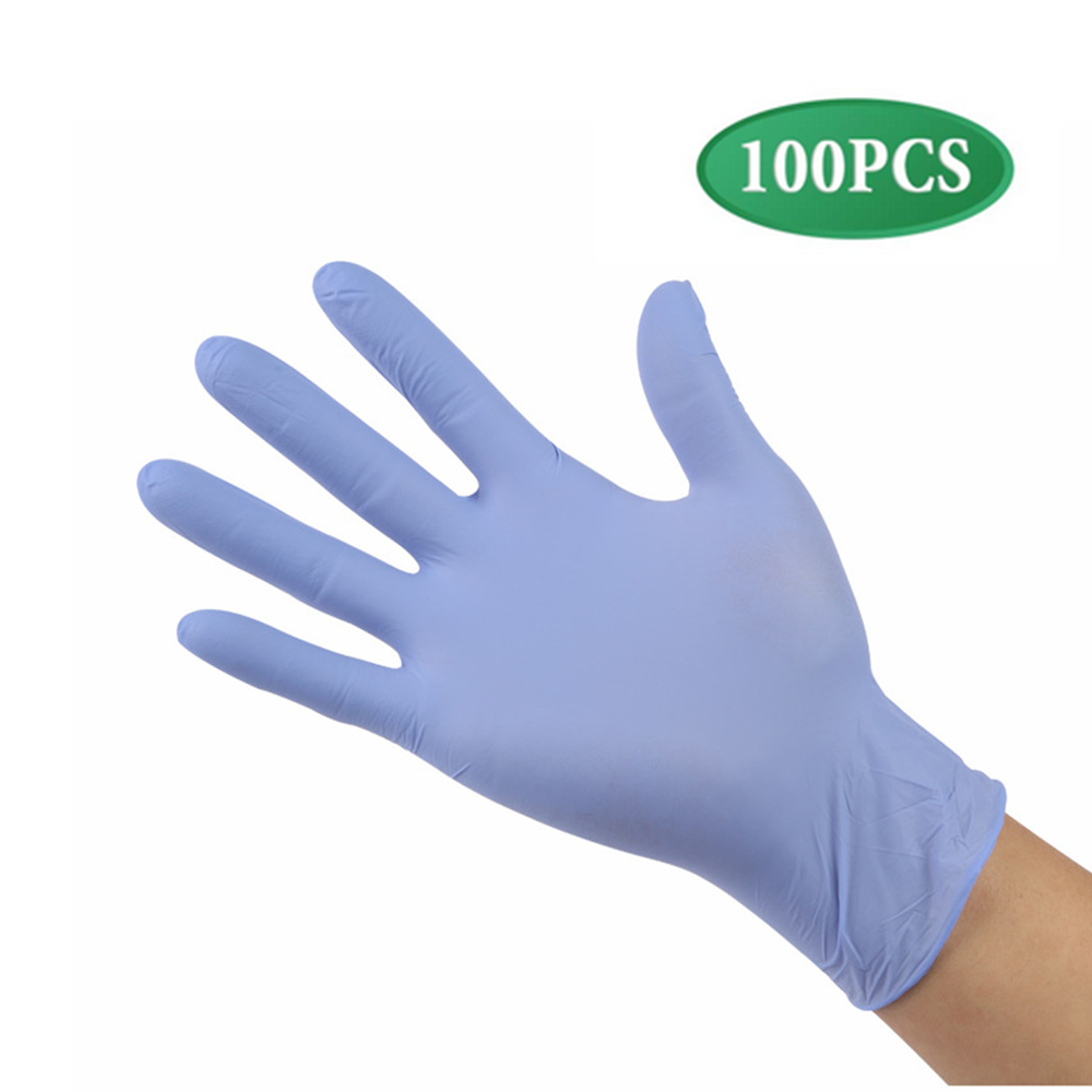 100 Pieces Disposable Nitrile Gloves, Non-Toxic, Food Safe, Allergy Free For Food Beauty Household Industrial