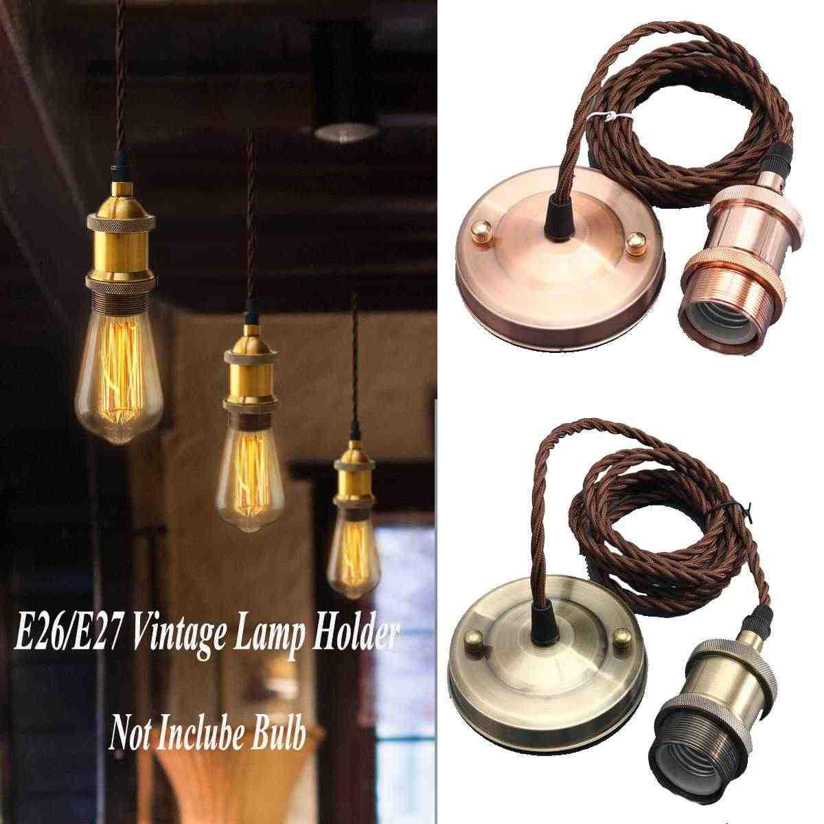 Vintage Style Lights Copper E27 Lamp Holder Socket 110V 220V Switch Screw chandelier Fitting e27 Lamp Bases With 2m wires