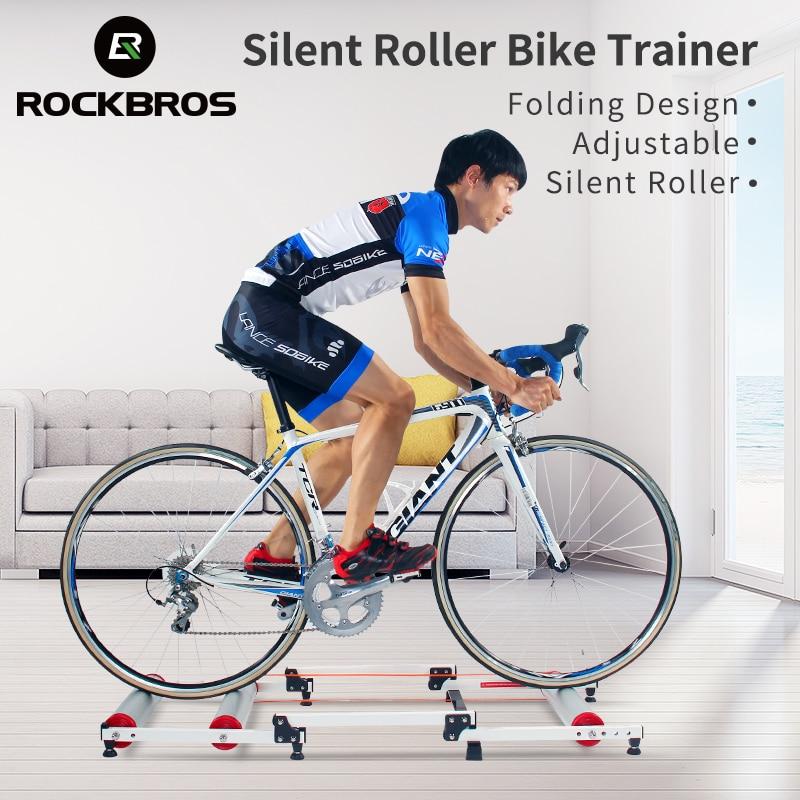 Rockbros instrutor de rolo da bicicleta carrinho exercício treinamento da bicicleta interior silent folding trainer liga alumínio para mtb bicicleta estrada