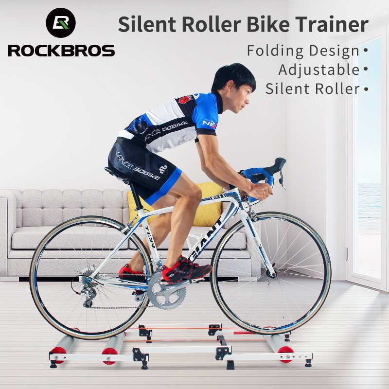 を rockbros 自転車ローラートレーナースタンド自転車運動自転車トレーニング屋内サイレント折りたたみトレーナーアルミ合金 mtb ロードバイク