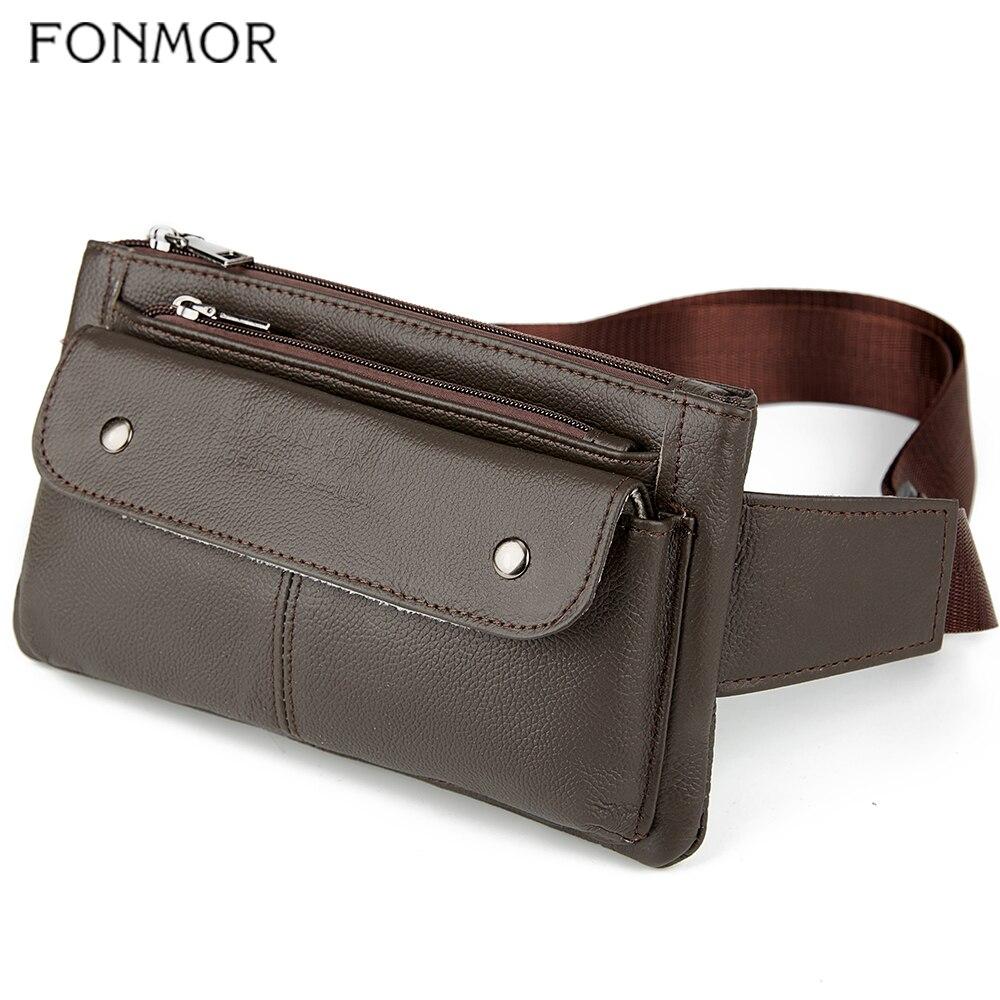 FONMOR Brief Designer Genuine Leather Men Waist Bag Multi-function Belt Bag Male Soft Surface Fanny Packs Travel Bum Bag Fashion