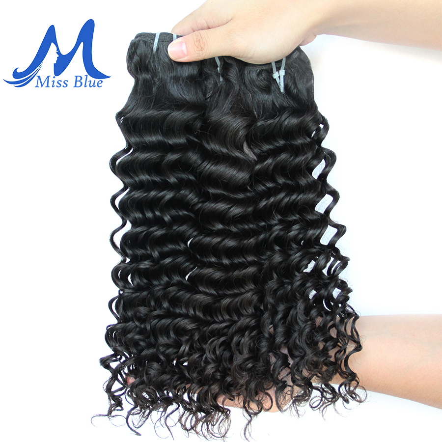 Missblue Deep Wave Malaysian Hair Weave Bundles 1 3 4 Pieces 100% Human Hair Bundles Natural Color Remy Hair Extensions 3