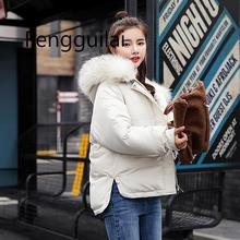 2019 Down Jacket Female Winter Coats Big Fur Collar Slim Warm Padded Overcoat Cotton Parka Women Thick Short Winter Jackets Coat