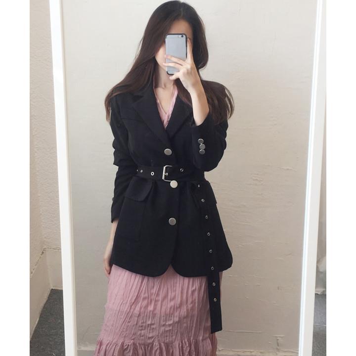 Mode 2019 automne col rabattu simple boutonnage Long Blazer femmes élégant ceinture solide costume manteau Outwear veste ample