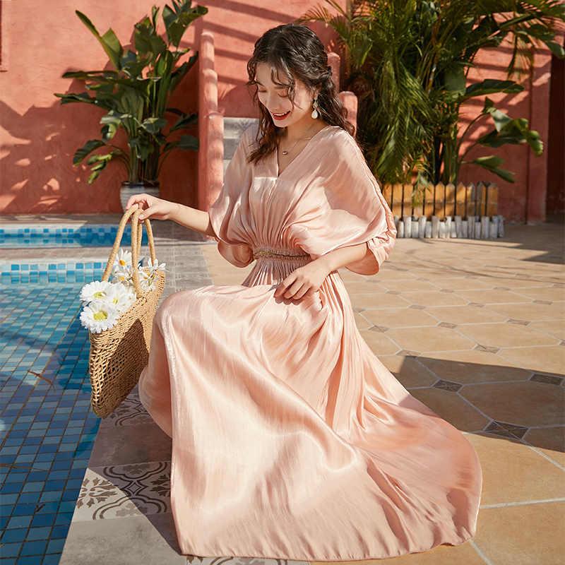 YAMDI אלגנטי אישה אונליין מסלול boho חצי עטלף שרוול 2020 מפלגת שמלות נשים קיץ בציר שמלת מוצק ורוד v צוואר גלימה