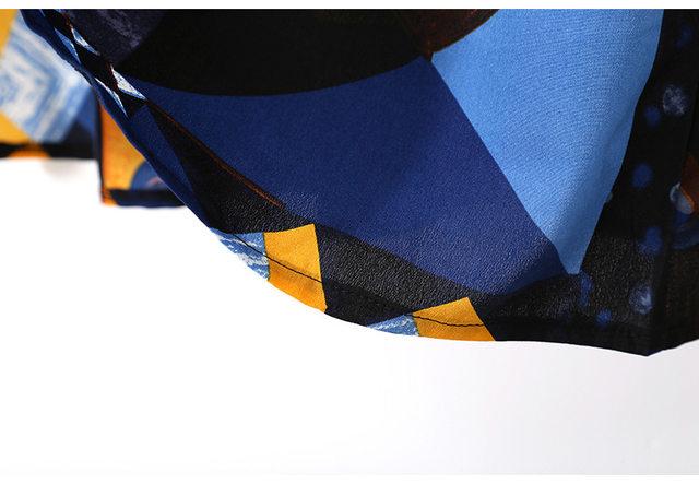 [EAM] 2019 New Autumn Winter Lapel Long Sleeve Blue Pattern Prited Loose Large Size Pocket Dress Women Fashion Tide JI485 35