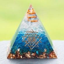 Energia orgonit piramida niebieskie szkło żwir kryształy terapeutyczne Reiki Chakra Orgone mnożnik piramidy Fengshui Home Decor