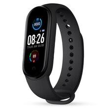 Relógio inteligente banda masculina mulher freqüência cardíaca pressão arterial monitor de sono pedômetro conexão bluetooth esporte relógio m5 banda