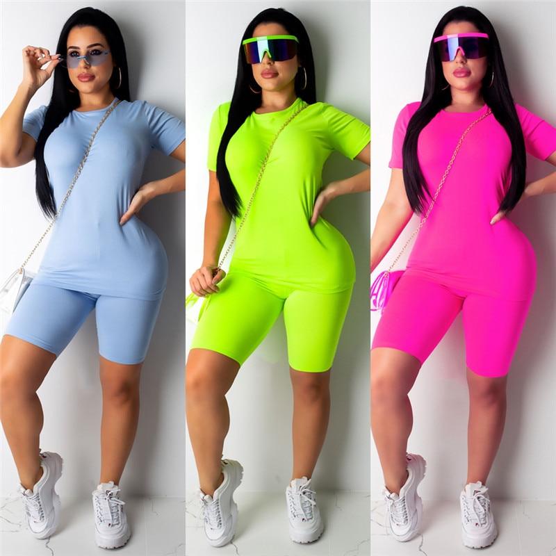 2PCS/Set Women Sports Suit Neon Top Short Pants Workout Clothes Tracksuit Fashion Summer Outfit Ladies Casual 2 Piece Set 2019
