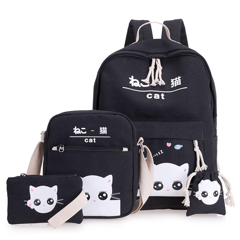 4 Pieces/Set Of Laptop School Backpack Girl Boy Teen Female Backpack Pouch Cute Cat Canvas Handbag Child