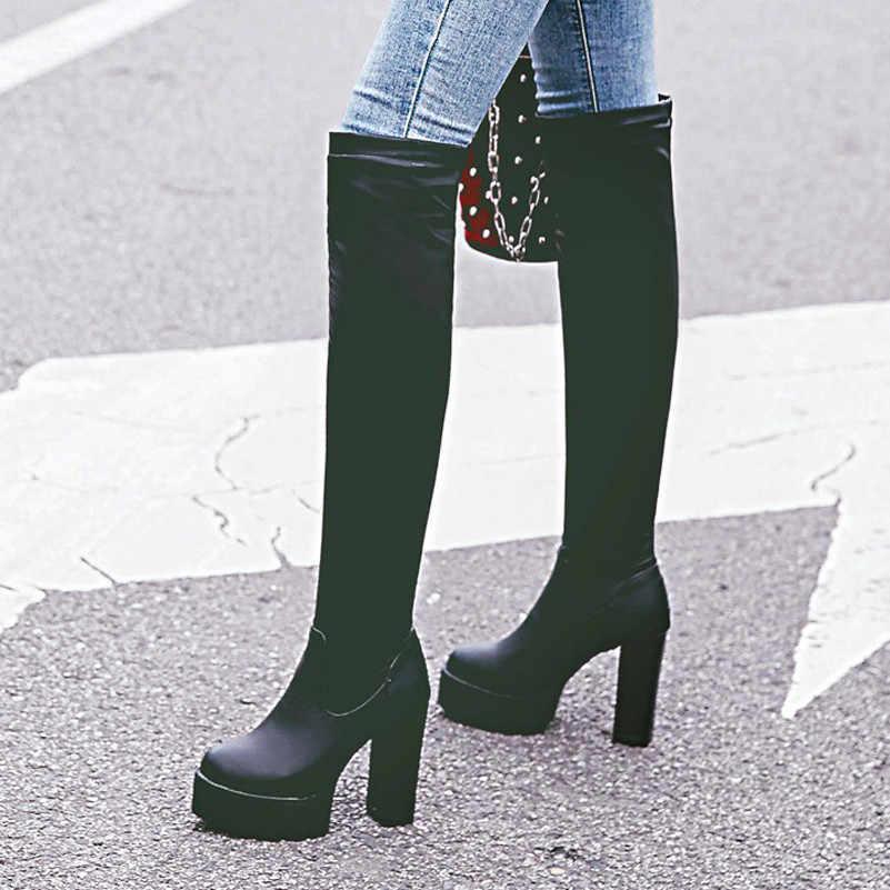 ANNYMOLI hiver au-dessus du genou bottes femmes Slim plate-forme extensible talon épais cuissardes bottes Sexy extrême chaussures à talons hauts femme